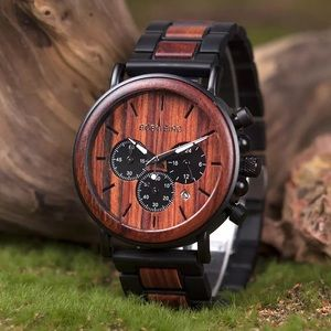 Other - Luxury Zebra Wood Chronograph Military Watch